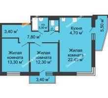 3 комнатная квартира 72,5 м² в ЖК Династия, дом Литер 2 - планировка