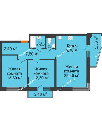 3 комнатная квартира 72,5 м² в ЖК Династия, дом Литер 2