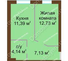 1 комнатная квартира 35,39 м² в ЖК Каменки, дом №14