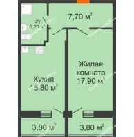 1 комнатная квартира 50 м² в ЖК Звезда Столицы, дом Литер 7 - планировка