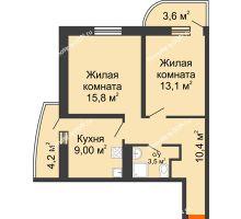 2 комнатная квартира 55,3 м² в ЖК Звезда Столицы, дом Литер 9 - планировка