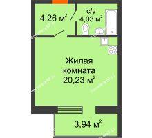 Студия 29,7 м² в ЖК Южный бульвар, дом №14 - планировка