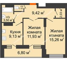 2 комнатная квартира 55,82 м² в ЖК Встреча, дом № 1 - планировка