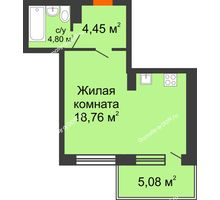 Студия 38,09 м² в ЖК Гвардейский 3.0, дом Секция 3 - планировка