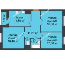3 комнатная квартира 74,5 м² в ЖК Левенцовка парк, дом Корпус 8-4 - планировка