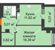 1 комнатная квартира 45,57 м², ЖК Площадь Ленина - планировка