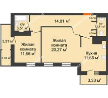 2 комнатная квартира 72,8 м² в ЖК Покровский, дом № 1