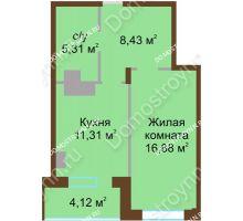 1 комнатная квартира 46,05 м² в ЖК Солнечный город, дом на участке № 208