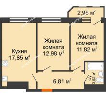 2 комнатная квартира 55,93 м² в ЖК Город времени, дом № 18 - планировка