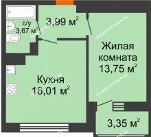 1 комнатная квартира 40,77 м² в ЖК Книги, дом № 1 - планировка