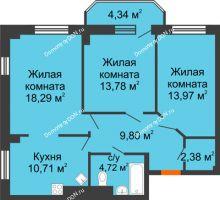 3 комнатная квартира 77,99 м² в ЖК Горизонт, дом № 2 - планировка