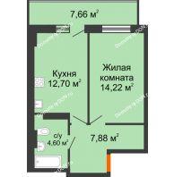 1 комнатная квартира 41,7 м² в ЖК Свобода, дом № 1 - планировка