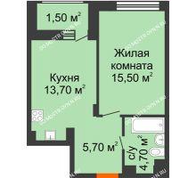 1 комнатная квартира 41,1 м² в ЖК Заречье, дом № 7 - планировка
