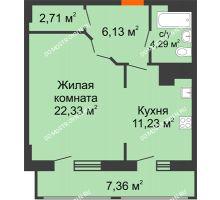 1 комнатная квартира 54,05 м² в ЖК Покровский, дом № 1 - планировка