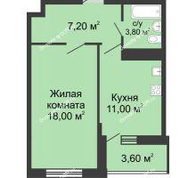 1 комнатная квартира 41,8 м² в ЖК Первый, дом Литер 2 - планировка