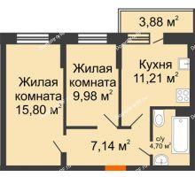 2 комнатная квартира 49,99 м² в ЖК Россинский парк, дом Литер 1 - планировка