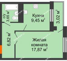 1 комнатная квартира 37,79 м², ЖК Новая Тверская - планировка