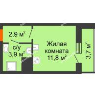 Студия 22,3 м², ЖК Космолет - планировка