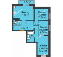3 комнатная квартира 74,81 м² в ЖК Романтики, дом Париж - планировка