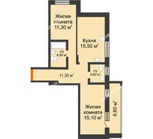 2 комнатная квартира 68,3 м² в ЖК Подкова на Цветочной, дом № 8 - планировка