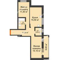 2 комнатная квартира 67,4 м² в ЖК Подкова на Цветочной, дом № 9 - планировка
