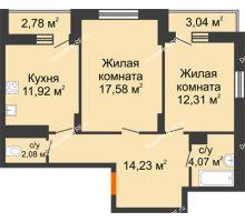 2 комнатная квартира 65,04 м², НЕБО на Ленинском, 215В - планировка