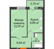 1 комнатная квартира 33,42 м² в ЖК Артемовский квартал, дом Секция 8 - планировка
