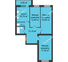 3 комнатная квартира 79 м² в ЖК Сиреневый квартал, дом Секция 3 - планировка