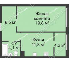 1 комнатная квартира 48,5 м² в ЖК Славянский квартал, дом № 5а, 7 - планировка