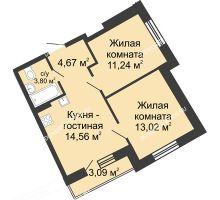 2 комнатная квартира 48,22 м² в ЖК Ватсон, дом № 4 - планировка