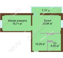 1 комнатная квартира 60,85 м² в ЖК Дом с террасами, дом № 1