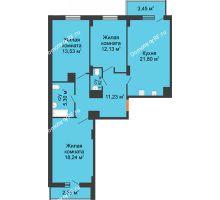 3 комнатная квартира 95,66 м² в ЖК Карамель, дом № 1 - планировка