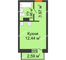 Студия 21,15 м², ЖК Зеленый берег Life - планировка