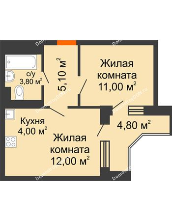 2 комнатная квартира 38,8 м² в ЖК Династия, дом Литер 2