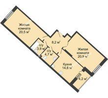 2 комнатная квартира 76,9 м² в ЖК Монолит, дом № 89, корп. 3 - планировка