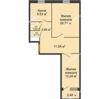 2 комнатная квартира 63,69 м², ЖК Городская 182Б - планировка