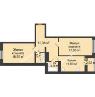 2 комнатная квартира 70,96 м² в ЖК Берег, дом 1 секция  - планировка