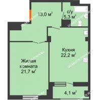 1 комнатная квартира 64,25 м² в ЖК Квартет, дом № 3 - планировка