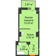 Студия 28,96 м² в ЖК Город у реки, дом Литер 7 - планировка