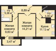 2 комнатная квартира 54,53 м², ЖК Гелиос - планировка