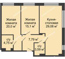 2 комнатная квартира 80,41 м² в ЖК TRINITY (Тринити), дом № 1 - планировка
