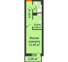 Студия 27,71 м², ЖК Штахановского - планировка