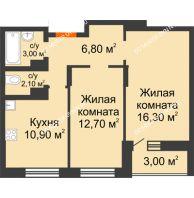 2 комнатная квартира 54,8 м² в ЖК Подкова на Цветочной, дом № 9 - планировка