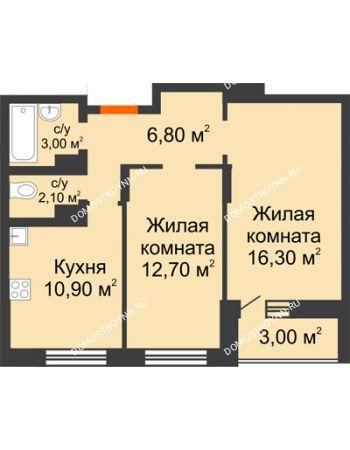 2 комнатная квартира 53,3 м² в ЖК Подкова на Цветочной, дом № 7