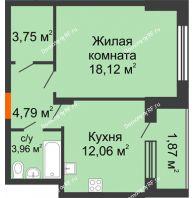 1 комнатная квартира 44,55 м² в ЖК Суворов-Сити, дом 1 очередь секция 6-13 - планировка