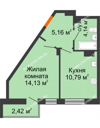 1 комнатная квартира 36,64 м² - ЖК Пушкин