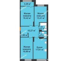 3 комнатная квартира 84,18 м² в ЖК Маленькая страна, дом № 4 - планировка