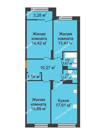 3 комнатная квартира 84,18 м² в ЖК Маленькая страна, дом № 4