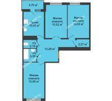 3 комнатная квартира 79,79 м² в ЖК Университетский парк, дом 2 очередь - планировка