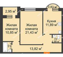 2 комнатная квартира 66,24 м² в ЖК Троицкий, дом Корпус 1 - планировка